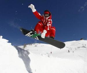 Puzle Snowboarder fazendo um truque ou um truque
