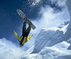 Puzle Snowborder em um salto