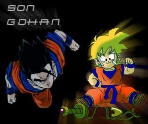 Puzle Son Gohan, o filho mais velho de Goku, guerreiro, meia Saiyan humanos e meia.
