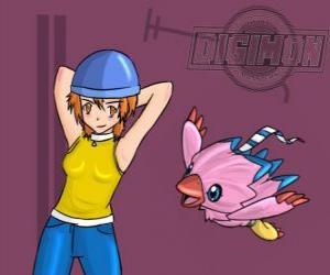 Puzle Sora brincando com seu digimon Biyomon. Sora Takenouchi é a mais responsável e madura do grupo