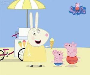 Puzle Sorvete para os irmãos Pig