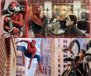 Puzle Spiderman luta contra o vilão Doutor Octopus, um dos seus maiores inimigos
