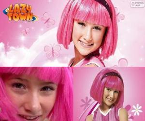 Puzle Stephanie, a menina protagonista de Lazy Town que ama a cor rosa