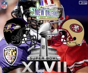 Puzle Super Bowl 2013. San Francisco 49ers contra o Baltimore Ravens. Superdome, Nova Orleães