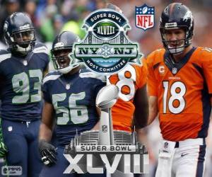 Puzle Super Bowl 2014. Seattle Seahawks vs Denver Broncos. MetLife Stadium, New Jersey, 2 de fevereiro de 2014