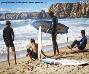 Puzle Surfistas na praia
