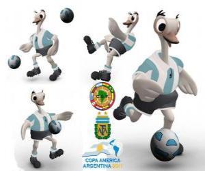 Puzle Suri mascote da Copa América, Argentina 2011, uma ema comum, também é chamado de American Ostrich