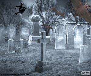 Puzle Túmulos no cemitério, Halloween