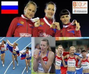 Puzle Tatiana Firova campeão nos 400 m, Xenia Krivoshapka Ustalova e Antonina (2 e 3) do Campeonato Europeu de Atletismo de Barcelona 2010