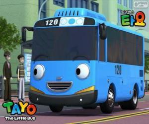 Puzle TAYO um ônibus azul alegre e otimista