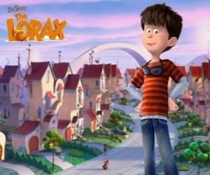 Puzle Ted Wiggins, um menino idealista de 12 anos, o principal protagonista do filme Lorax
