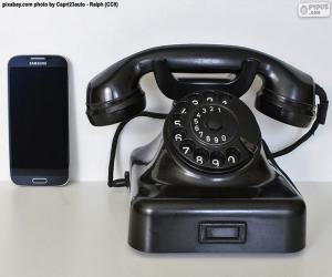 Puzle Telefone velho contra o telefone móvel