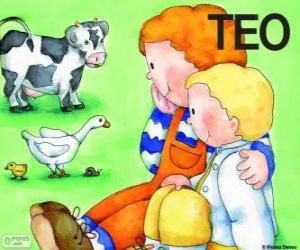 Puzle Teo e sua irmã Clara com animais