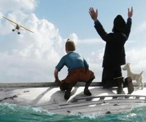Puzle Tintim, Capitão Haddock e Milou em um barco naufragou depois de ser