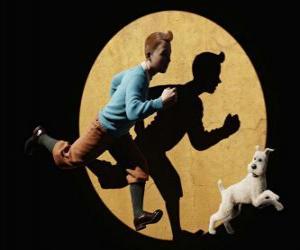 Puzle Tintim com seu cão Milou execução