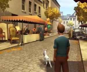 Puzle Tintim com seu cão Milou andando na rua