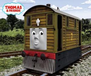 Puzle Toby é o trem-bonde marrom, número 7, O Toby é a locomotiva Nº 7 castanha