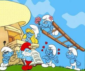 Puzle Todos os Smurfs estão no amor com Smurfette