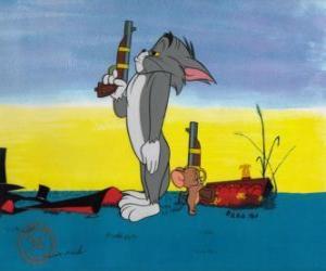 Puzle Tom e Jerry em um duelo