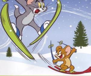 Puzle Tom e Jerry na neve com esquis