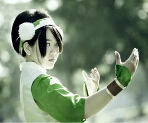 Puzle Toph Bei Fong, Toph é uma menina que nasceu cega, que acompanha Aang em seu caminho e para ensinar a Terra - controle