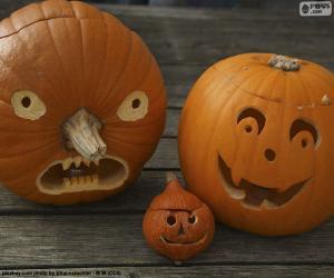 Puzle Três abóboras de Halloween