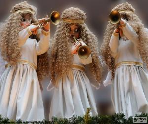 Puzle Três anjos tocando trombeta