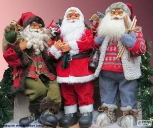 Puzle Três bonecos de Papai Noel