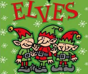 Puzle Três pequenos elfos do Papai Noel