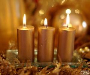 Puzle Três velas de Natal dourado