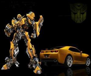 Puzle Transformers, o carro eo robô no qual ele se transforma
