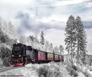Puzle Trem de inverno