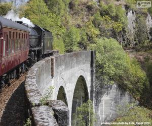 Puzle Trem que passa através de um viaduto