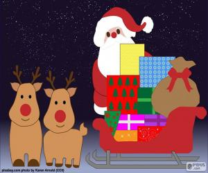Puzle Trenó de Papai Noel do desenho