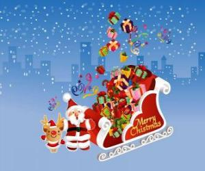 Puzle trenó do Papai Noel cheio de presentes de Natal