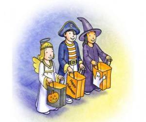 Puzle Três crianças vestidas para o doce ou travessura - Um fantasma, uma bruxa e um demônio com sacos