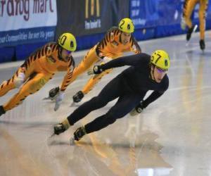 Puzle Três patinadores em uma corrida de patinação ou patinagem de velocidade