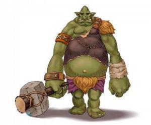Puzle Troll gigante armado com um garrote