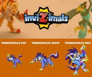 Puzle Tunderwulfe em três fases Tunderwulfe Pup, Tunderwulfe Scott e Tunderwulfe Max, Invizimals