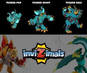 Puzle Tusker em três fases Tusker Pup, Tusker Scott e Tusker Max, Invizimals