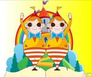 Puzle Tweedledee e Tweedledum, dois jovens gêmeos