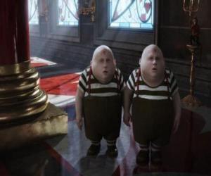 Puzle Tweedledee e Tweedledum gordinho e os gêmeos que estão sempre brigando entre si