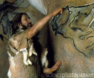Puzle Um artista fazendo uma pintura rupestres pré representando um búfalo na parede de uma caverna como um dinossauro como visto de fora