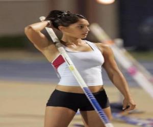 Puzle Um atleta que se preparam para salto à vara