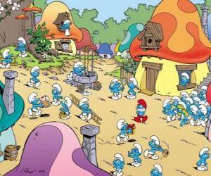 Puzle Um dia na aldeia dos Smurfs