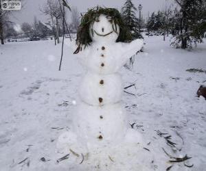 Puzle Um divertido boneco de neve