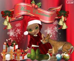 Puzle Um elfo felicitar o Natal