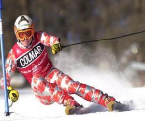 Puzle Um esquiador em competição de slalom