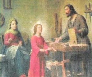 Puzle Um jovem Jesus trabalhando como um carpinteiro com seu pai José