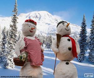 Puzle Um par de bonecos de neve
